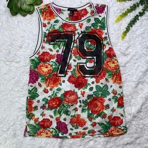 Forever 21 Hawaiian Floral Sleeveless Jersey Top